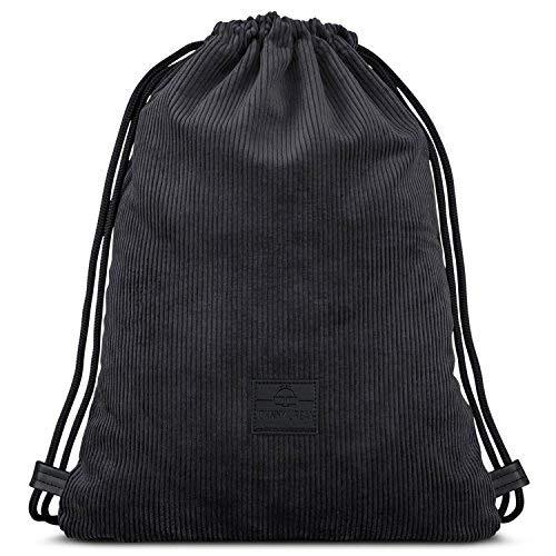 Johnny Urban Drawstring Bag Black Corduroy Sackpack Gym Sack Men & Women