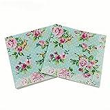 #3: WallyE Paper Napkins for Bridal Shower Tea Party Birthday or Wedding, Vintage Blue Floral, 20 Pack