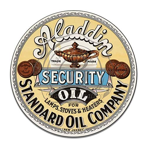 Standard Oil Aladdin Security Oil Lamps Stoves Heaters Gas Synthetic Motor Oil Emblem Seal Vintage Gas Signs Reproduction Vintage Style Metal Signs Round Metal Tin Aluminum Sign Garage Home Decor