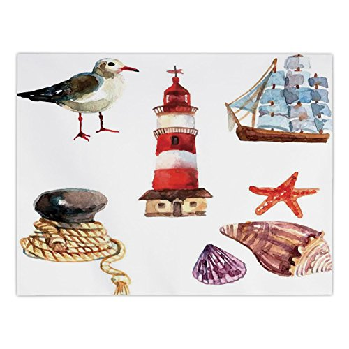 - Polyester Rectangular Tablecloth,Nautical,Nautical Theme Elements Seagull Boat Lighthouse Shell Starfish Island Watercolor Style,Multi,Dining Room Kitchen Picnic Table Cloth Cover,for Outdoor Indoor