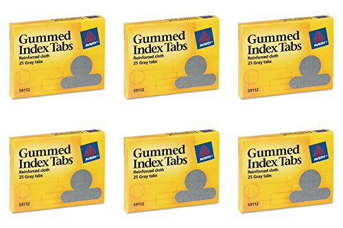 Avery Gummed Index Tabs, 25 Gray Tabs, Pack of 25 (59112), 6 Packs