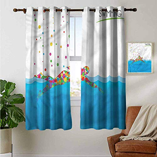 petpany Blackout Curtains for Bedroom Olympics,Swimming Pool Artsy,Darkening Grommet Window Curtain 1 Pair 42