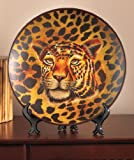 Leopard Safari Tiger Jaguar Animal Cheetah Print Decorative Plate with Easel Decor Majestic African Wild Tribal Home Accent Charger Black Brown Shelf Mantle Table Top Decoration
