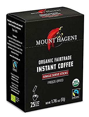 Mount Hagen -REGULAR Organic Instant Coffee Freeze Dried 25 Single Serve Packets- 1.76 Oz Each, (Pack of 2) by Mount Hagen