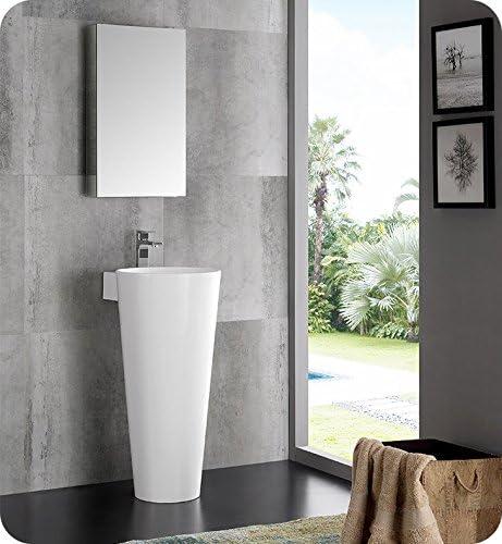 Fresca Messina 16″ White Pedestal Sink w Medicine Cabinet