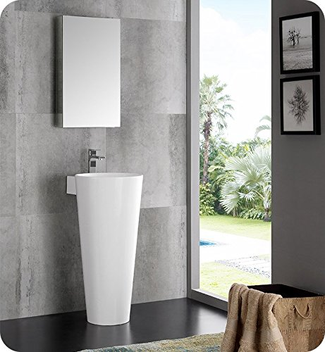 Fresca Messina 16 White Pedestal Sink w Medicine Cabinet - Modern Bathroom Vanity