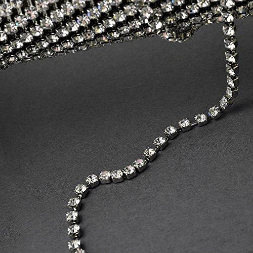 4.5mm Swarovski Crystal Rhinestone Chain by yard, Crystal /Rhodium Plated Cup Chain, SW-127104 ()