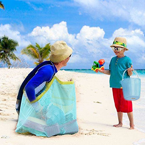 Willrise Supply 1 Beach Large Mesh Tote Backpack Towels Swim and Pool Toys Balls Storage Bags Packs, Stay Away from Sand and Wat