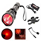 X.YShine LED Hunting Flashlight, HS-802 250 Yards Cree Q5 Coyote Hog Red Light Flashlight with Remote Tactical Pressure Switch+ Barrel Mount+ 18650 Rechargeable Battery+ Charger for Hunting, Fishing