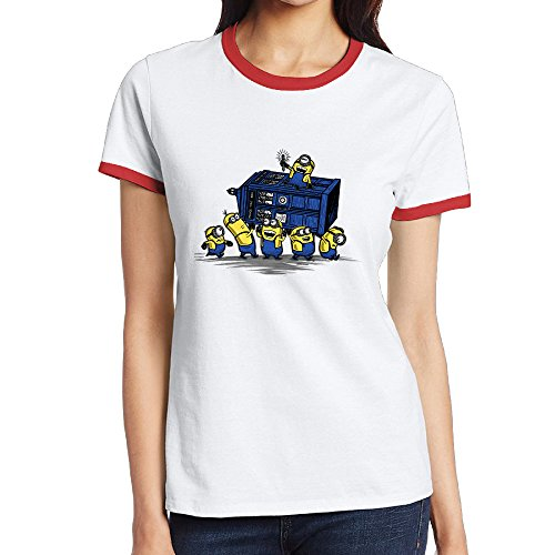 [NINJOE Women's Classical Doctor Minions Who Sport Tee Red L] (Minion Costume Makeup)