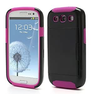 Jujeo Card Storage PC and Silicone Hybrid Hard Case for Samsung i9300 Galaxy S3 - Rose/Black