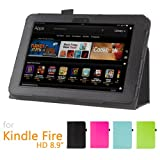 """GMYLE(TM) Black PU Leather Slim Folio Stand Case for Amazon Kindle Fire HD 8.9"""" Tablet (with Auto Wake Up Sleep Function and Stylus Pen Holder)"""