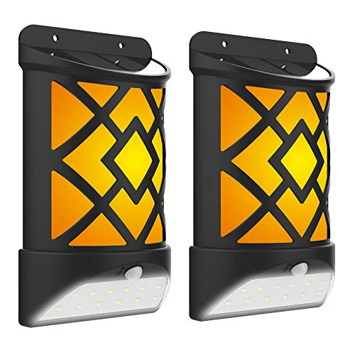 [2 Pack]Solar Wall Light with Flicker Flame, Derlights 72 LED 2 Modes Solar Motion Sensor Light Outdoor,IP65 Waterproof, Solar Flame Light for Garden Landscape Decoration Pathway Patio Fence Deck Yard