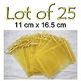Organza Bags 25 pcs GOLD Drawstring Pouch 4.3'' x 6.5''
