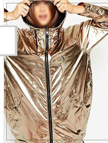Allentato Lunghe Cerniera Bomber Relaxed Moda Giacca Eleganti Outerwear Prodotto Women Cappuccio Plus Maniche Giovane Giaccone Oro Impermeabile Primaverile Con Donna Autunno Casual SCw4OYZFq4