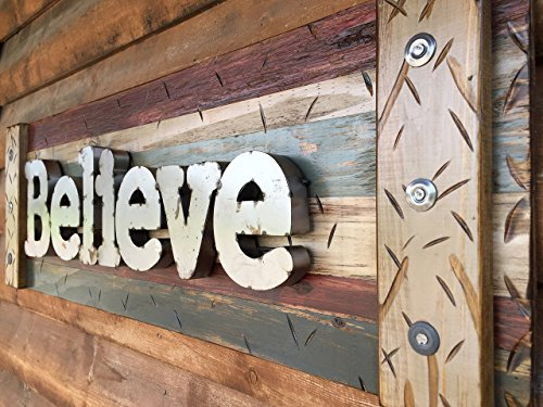 BELIEVE Sign Decor Large Reclaimed Rustic Pallet Wall Log Cabin Style 44″ Shutter BURG Blue *Industrial Rustic Metal Lettering *Handcrafted Distressed LARGE Wood Sign *Hang INDOOR or OUTDOOR