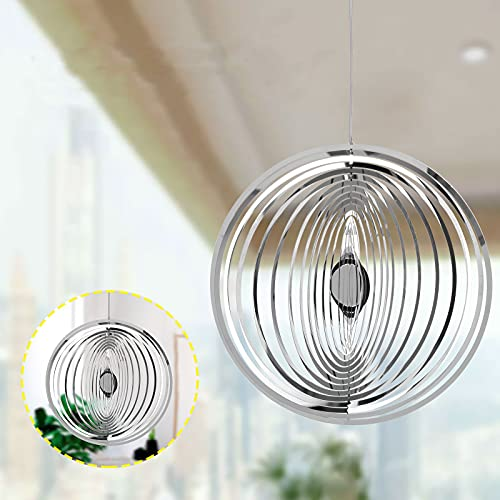 3D Stainless Steel Flowing-Light Effect Decor House Hanging Decoration, Wind Chimes Outdoor Windchimes Unique Outdoor Gifts for Mom, Garden Party Outdoor and Indoor Decorations (A-7.9X7.9 Inch)
