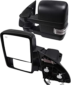 CTCAUTO Towing Mirrors Compatible with 2008-2016 Ford F250 F350 F450 Tow Mirrors with Power Adjusted Heated Turn Signal Puddle Auxiliary Light Black Housing
