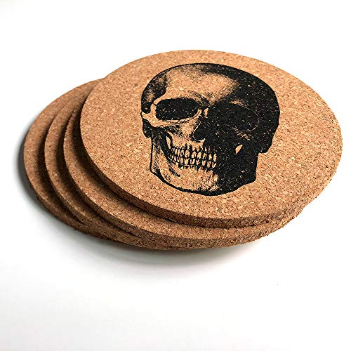 (Skull Coasters For Drinks - Set of 4 Skull Decor Drinks Coasters - 4