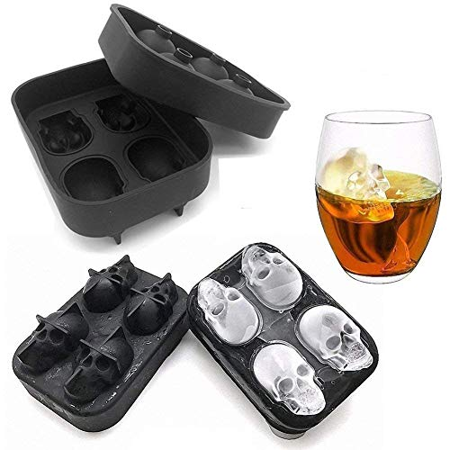 MoldFun 2-Pack 3D Halloween Skull Silicone Mold Tray for Making Ice Cube Jello Jelly Chocolate Candy Gummy Maker Soap Sugar Bath Bomb Clay Candle Plaster Resin -