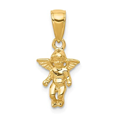 f5ea95d94b8 Image Unavailable. Image not available for. Color: 14k Yellow Gold Small  Guardian Angel Pendant Charm Necklace ...