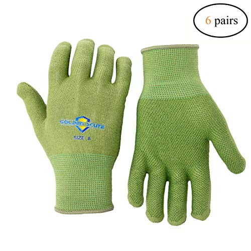 Golden Scute Bamboo Dotted Working Gloves, Breathable, Keep Hands Cool, Sweat Proof, Comfortable Safety Gloves for Light Work Gardening, Fishing, Restoration Work, 6 Pairs (Medium/Size 8) by Golden Scute