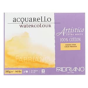 "Fabriano Artistico 140 lb. Cold Press 20 Sheet Block 9x12"" - Extra White"