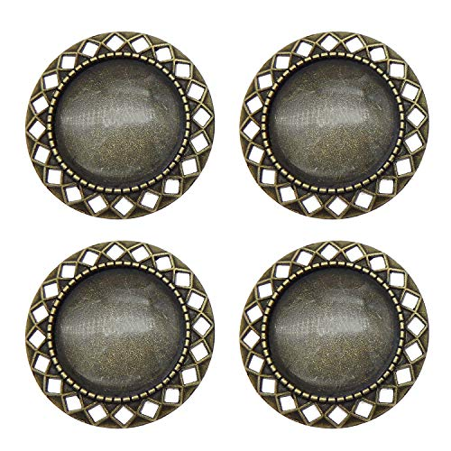 Julie Wang 10 Sets Round Pin Brooch Bezel Blanks Bronze Setting with Matching Glass Cabochons