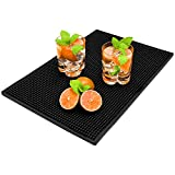 COSOOS Bar Mat, Rubber Bar Mats, Service Spill Coffee Mat for Countertop, Black