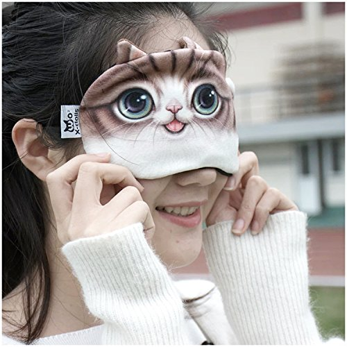 Cute Cat Face Funny Animal sleeping mask Soft Comfortable Breathable eye shade with Icing Steaming bag inside for eye massage sleeping eye patch travel nap blinder sleep masks (Cat (Funny Face Masks)