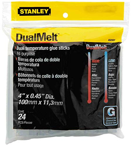 Stanley Bostitch Dual Temperature Glue Sticks, 4 In Stick, 24/Pack, Case of 5 Packs