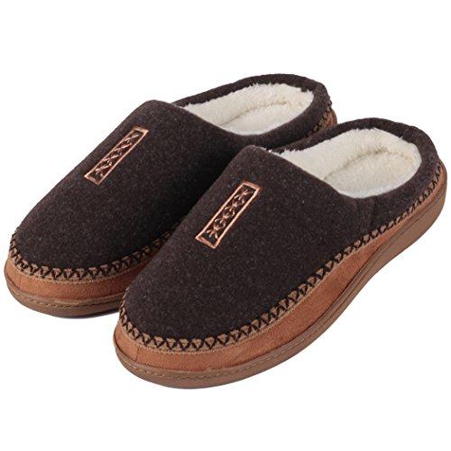 Clogs Slip Fleece (Home Slipper Indoor/Outdoor Clog Slipper Shoe, Men's Cozy Fuzzy Fleece Slip On Memory Foam Slippers Non-Slip Dark Brown US11/12)