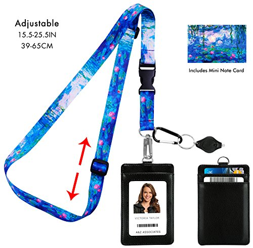 ilies 1917 Adjustable Lanyard with PU Leather ID Badge Holder with 3 Card Pockets & Matching Note Card. Carabiner Keychain Flashlight. Adjustable 15.5