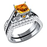 2.10 ct Princess Cut Citrine & Simulated Diamond 925 Sterling Silver Plated Engagement Wedding Band Bridal Ring Set