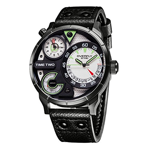 Men's Black Leather Watches - Analog - 2 Time Gents Black Leather Watch