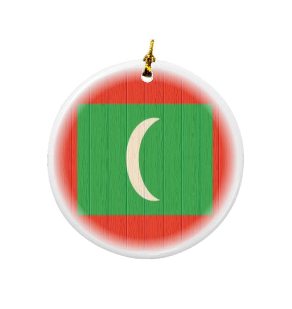 Rikki Knight Maldives Flag on Distressed Wood Design Round Porcelain Two-Sided Christmas Ornaments