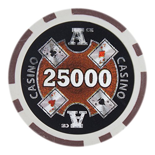 Casino Ace Poker Chip - Brybelly Ace Casino Poker Chip Heavyweight 14-gram Clay Composite – Pack of 50 ($25000 Brown)