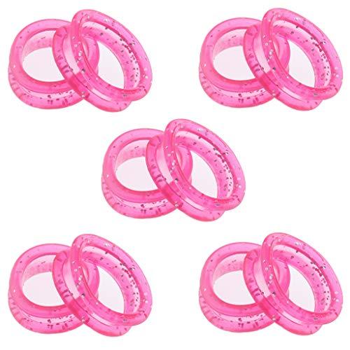 Flameer Thumb Insert for Shears Dog Grooming Finger Ring Silica Rubber Grips for Salon Barber Pet Groomer Shears 10 Packs - Pink