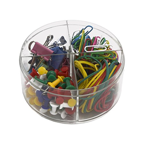 K.W. Stationery Office Supplies Round Box Set | Binder Clips, Paper Clips, Rubber Bands & Push Pins In Assorted Colors | Organize Reading, Workplace, School, Home & Study Room (1 Set)
