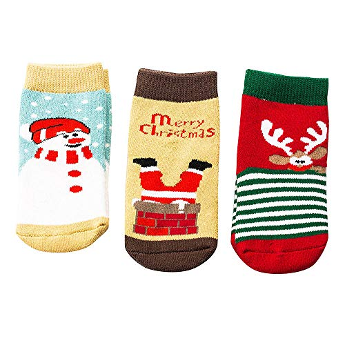 Inkach Christmas Cartoon Newborn Baby Girls Boys Anti-Slip Socks Slipper Non-Slip Booties Shoes Gift (Fit for 1-2 Years Old/Label Size:M, Yellow)