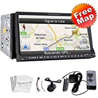 Newest WIN 8 HD Car Radio Rear Camera In-dash 7 2 Double DIN Car DVD CD Video Player GPS Navigation Bluetooth Digital Touch Screen Car Stereo Radio SD/USB BT Bluetooth Car PC FM/AM Radio+Free Official GPS Map Headunit