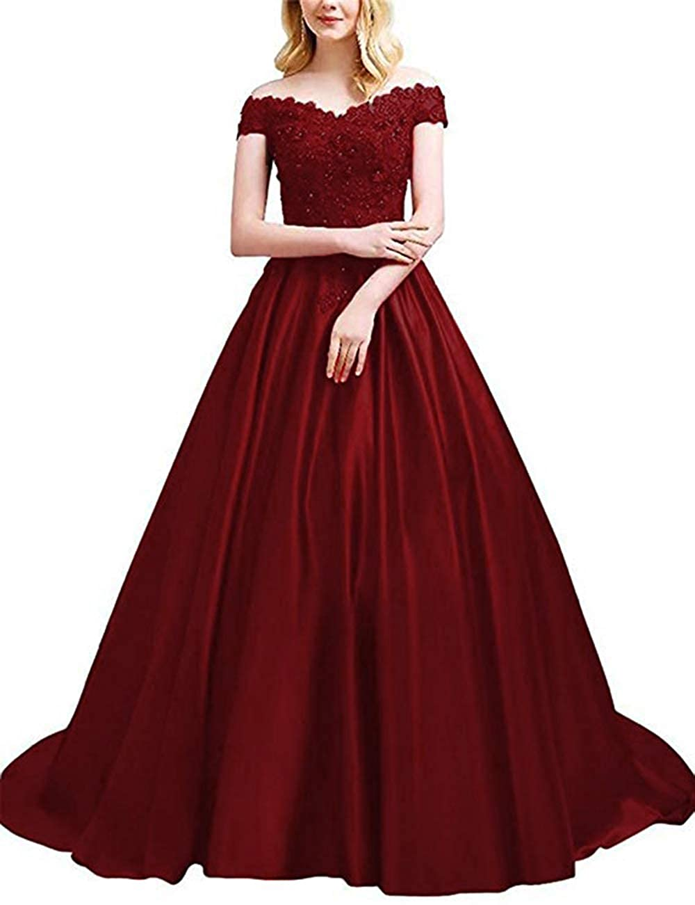 Burgundy Ri Yun Women's Off The Shoulder Prom Dresses Long Satin Beaded Formal Evening Ball Gowns 2019