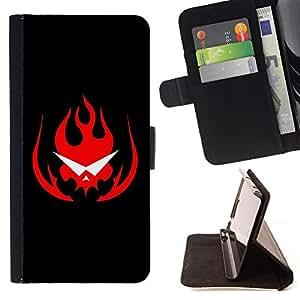 BullDog Case - FOR/Apple Iphone 5C / - / Flaming Skull Glasses /- Monedero de cuero de la PU Llevar cubierta de la caja con el ID Credit Card Slots Flip funda de cuer
