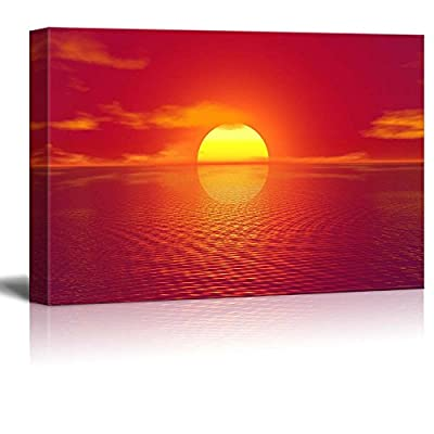 Canvas Print Wall Art Modern Home Art - Majestic View of Red Sunrise on The Sea | Giclee Printing Ready to Hang - 24
