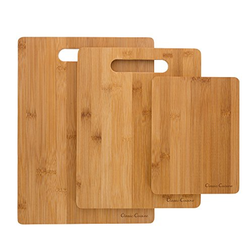 (3 Piece Bamboo Cutting Board Set- Eco Friendly, Antimicrobial and Antibacterial Chopping and Serving Boards 8x6, 11x8.5, 13x9.5 by Classic)