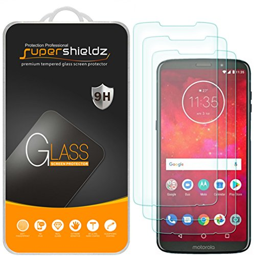 [3-Pack] Supershieldz for Motorola Moto Z3 / Z3 Play Tempered Glass Screen Protector, Anti-Scratch, Bubble Free - Lifetime Replacement