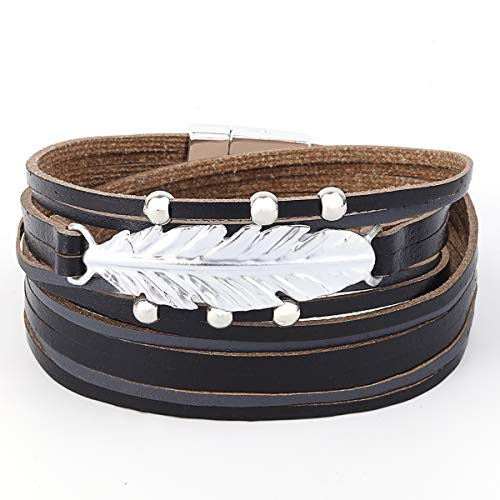 Womens Leather Cuff Bracelet - Braided Wrap Bangle Handmade Multi Layer Jewelry - with Alloy Magnetic Clasp - Bohemian Gift for Women, Mother,Girls -