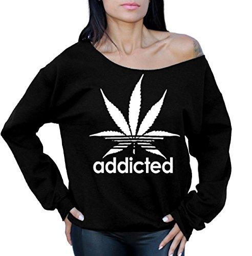 UPC 638267157795, icustomworld Addicted Off The Shoulder Oversized Sweatshirt White Weed Leaf M Black