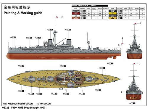 Amazon.com: Trumpeter 1/350 05328 HMS Dreadnought 1907: Toys ...
