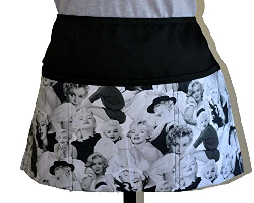 ty waiter waitress Kitchen Cooking Apron,100% Cotton fabric Apron with 3 Pockets Marilyn Monroe black and white movie scenes (Scenes Cotton Fabric)